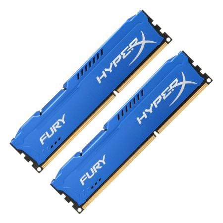 HyperX Fury Blue 16GB Kit (2 x 8GB), DDR3, 1600MHz (PC3-12800), CL10, DIMM Memory